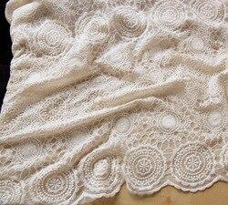 Siateczka w kolorze kości słoniowej haftowana tkanina z koronki na suknię ślubną zasłony tkanina bawełniana na obrus