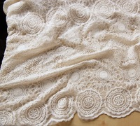 ivory mesh embroidered lace fabric for wedding dress curtains cotton fabric for table cloth