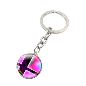 2016 Charms brelok Super Smash Bros piłka różowy i czarny szklany okrągły Dome wisiorek brelok do kluczy Llaveros Mujer Key Ring kobiety prezenty