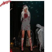 Free Shipping Convict Criminal Zombie Black/White Stripe Prisoner Costume Halloween Cosplay Party Costume For Women M,L,XL