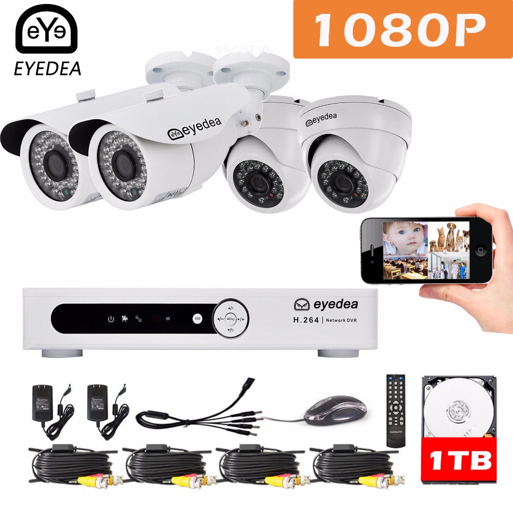 Mother's Day Eyedea DVR 8 CH Motion Detect Email Alarm 1080P Bullet Dome Outdoor LED Surveillance CCTV Security Camera Kit 1TB