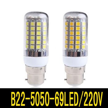 B22 12W 69 5050 SMD LED Bulb White / Warm 220V Corn Light spotlight Lamp bulbs - Hua Shang Tripod CO., LTD store
