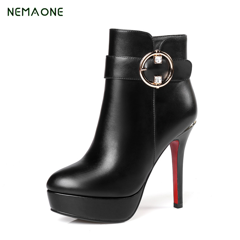 NEMAONE New genuine leather boots high quality pointed toe high heels fashion ankle boots for women shoes autumn winter botas arrylinfashion british fashion all match ankle boots top leather autumn botas femininas pointed toe charming thin high heels