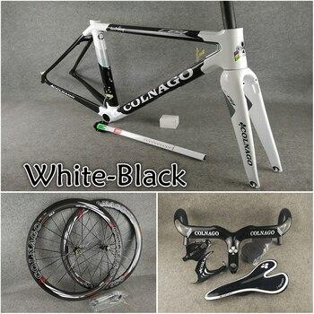 T1100 UD Glossy White Black Colnago C64 carbon road frame+Handlebar+Saddle+Bottle cages+50mm carbon wheelset Novatec A271 hubs