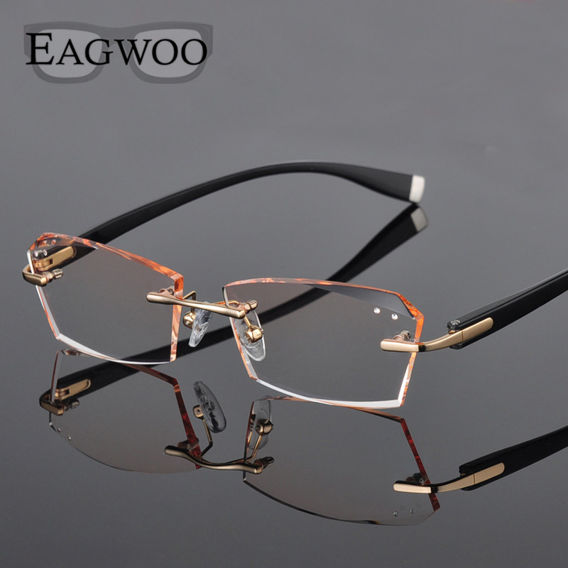 Metal Alloy Eyeglasses Men Rimless Prescription Reading Myopia Color MR 8 Crystal Glasses Frameless Spectacle Color