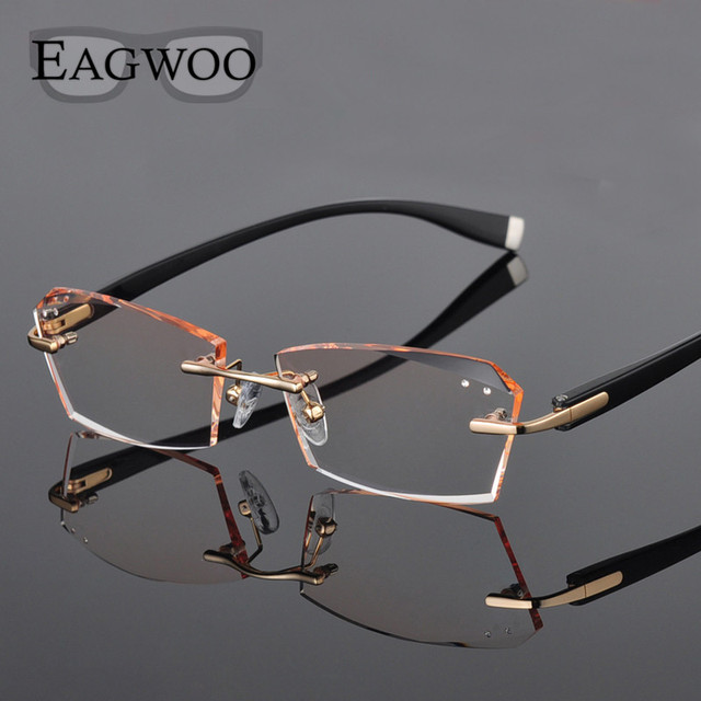 a1beb1ef87 Metal Alloy Eyeglasses Men Rimless Prescription Reading Myopia Color MR-8  Crystal Glasses Frameless Spectacle Color Lenses258026