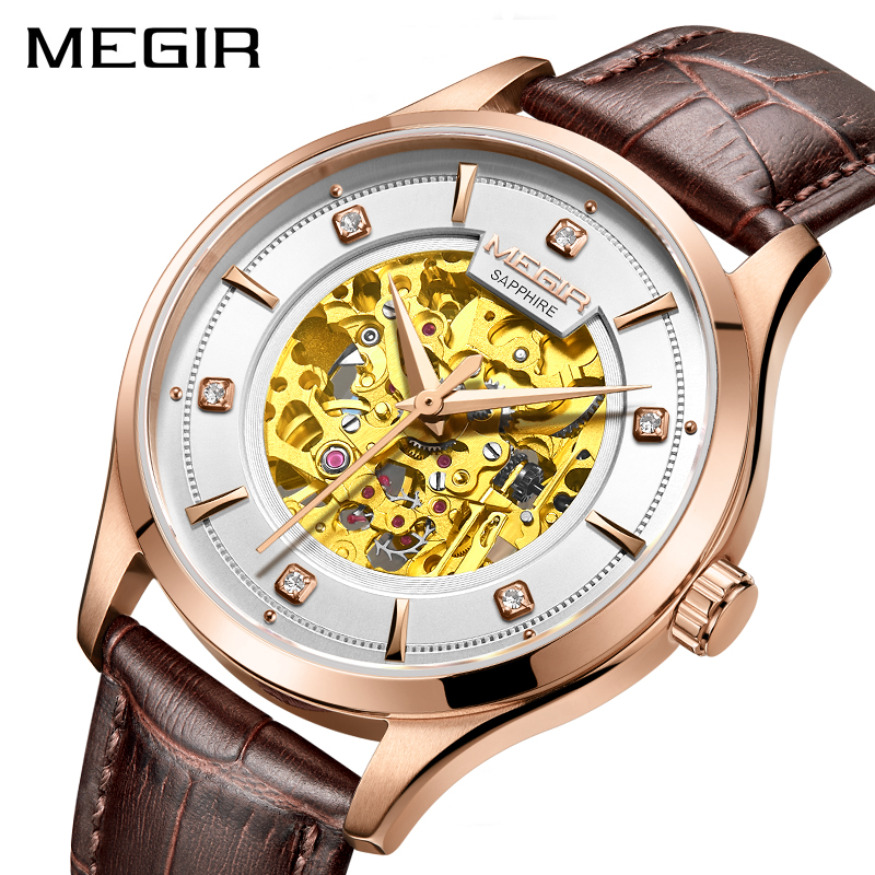 MEGIR New Automatic Mechanical Watch Top Brand Luxury Sapphire crystal Skeleton Men Watches Leather Golden Design Wristwatch