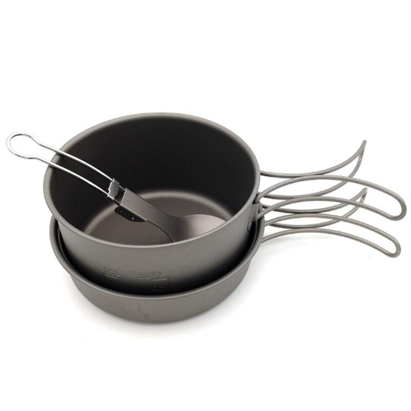 Nouvelle vente casseroles en titane bols avec poignée pliante cuisinière Camping randonnée pique-nique ustensiles de cuisine avec cuillère en titane - 2