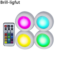 RGB 12 Colors Dimmable led Under Cabinet Light Touch Sensor LED Puck Lights Wall Lamp For