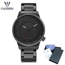 CADISEN Top Men Watch Simple Casual Fashion Waterproof Quartz  Movement Black Wrist Watches Stainless Steel Rubber Strap цена