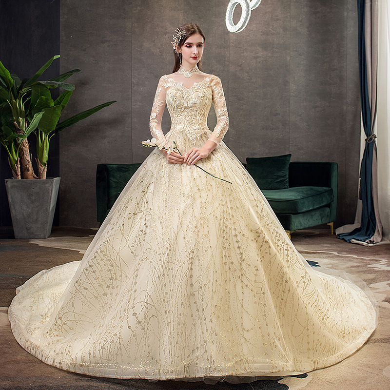 2019 New Gold Luxury Long Train High Neck Full Sleeve Wedding Dress Lace Applique Shining Plus Size Bridal Gown Robe De Mariee L