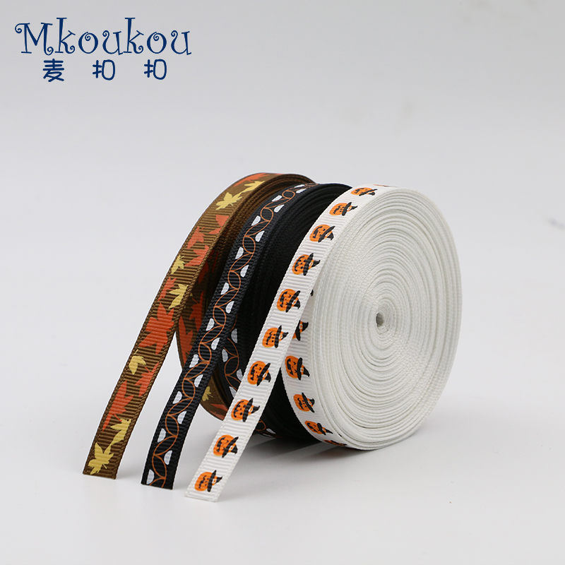 10mm Halloween Series Printed ribbon, Cartoon Ribbon,DIY Handmade Material,Headwear Accessory,Gift Packing,Festival Decoration