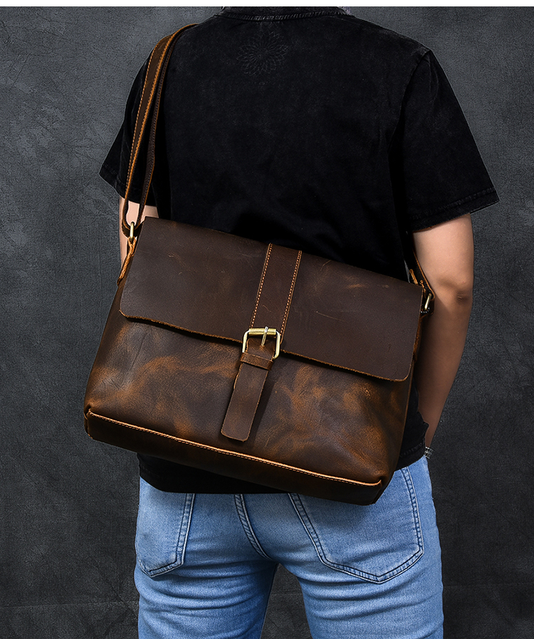 Luxury Leather Courier Bag crossbody style