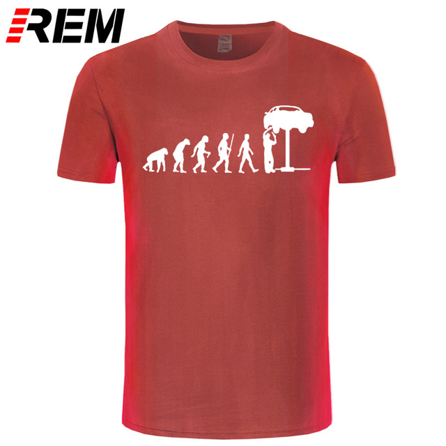 REM Summer Style Evolution Auto Mechaniker Mechanic Car T-Shirt Tops Funny Gift T Shirt For Men Tee 4