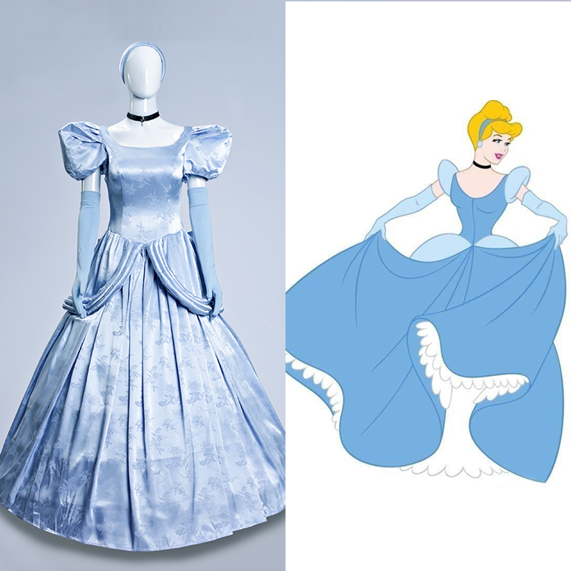 Princess Cinderella Dress Cosplay Costume Adult Women Halloween Cinderella Party Dress