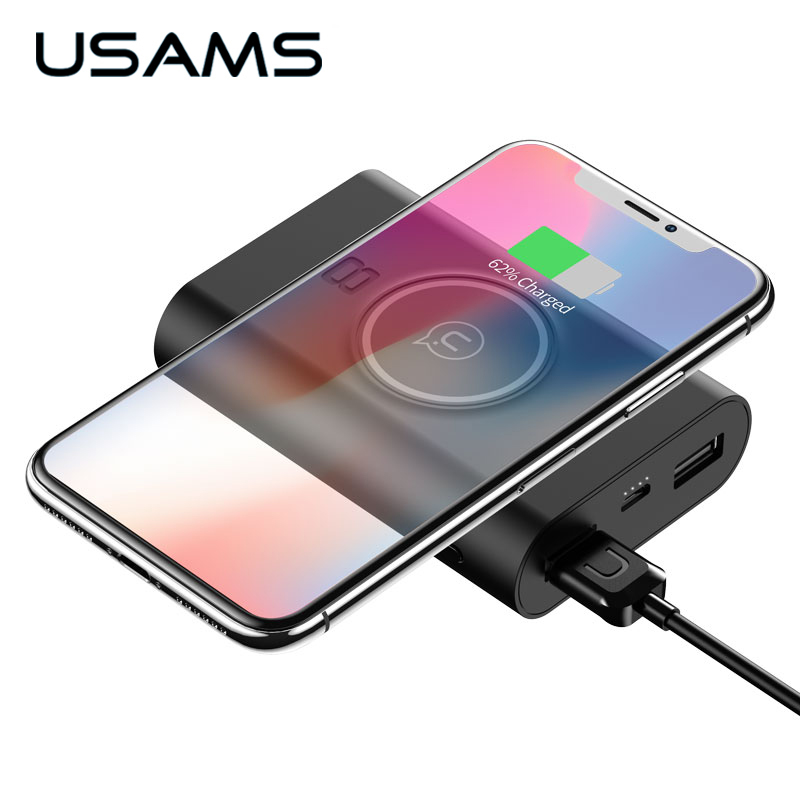 USAMS Wireless Charge Power Bank Dual USB Output Portable External Battery Charging For iphone X 8 samsung S9 huawei xiaomi