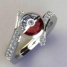 Pokemon Pikachu Poke Ball Bling ZIrcon Stone Silver Cute Rings for Women Wedding Engagement Fashion Cartoon Jewelry 2019 New