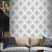 Gray Graphic Diamond Trellis Vinyl Wall Paper Large Floral Damask Wallpaper For Walls Blossom Textured Embossed Home Decor