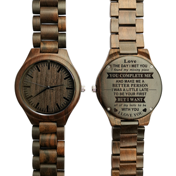 YOU ARE THE MISSING PIECE - FOR BOYFRIEND ENGRAVED WOODEN WATCH