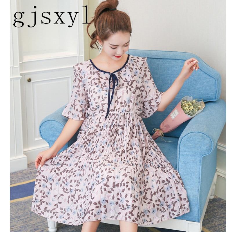 gjsxyl Pregnant women summer dress 2018 new pregnant women dress long summer floral chiffon skirt dress