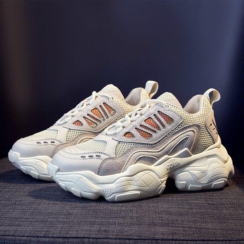 2019 Plateforme Femmes Baskets Mode Fond Épais Augmentant La Taille 5 CM décontracté Chaussures Chunky Chaussure Balançoire Chaussures Minceur