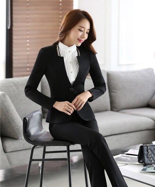 0dc95e9c8406e Automne Hiver Formelle Dames Noir Blazer Femmes Vêtements de Travail  Costumes avec Pantalon et Veste,