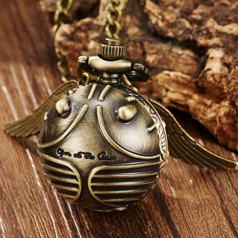 Vintage Retro Cute Wings Snitch Pocket Watch Necklace Bronze Fob Chain Clock Pendant For Children Boys Potter Fans' Gift