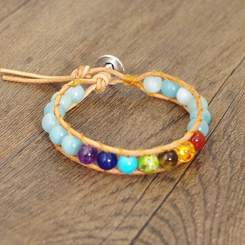 5A Amazonite Stone Beads Leather 7 Chakra Bracelet & Bangle Men Women Fashion Jewelry Boho Yoga Chakra Charm Wrap Bracelet Gift bracelet