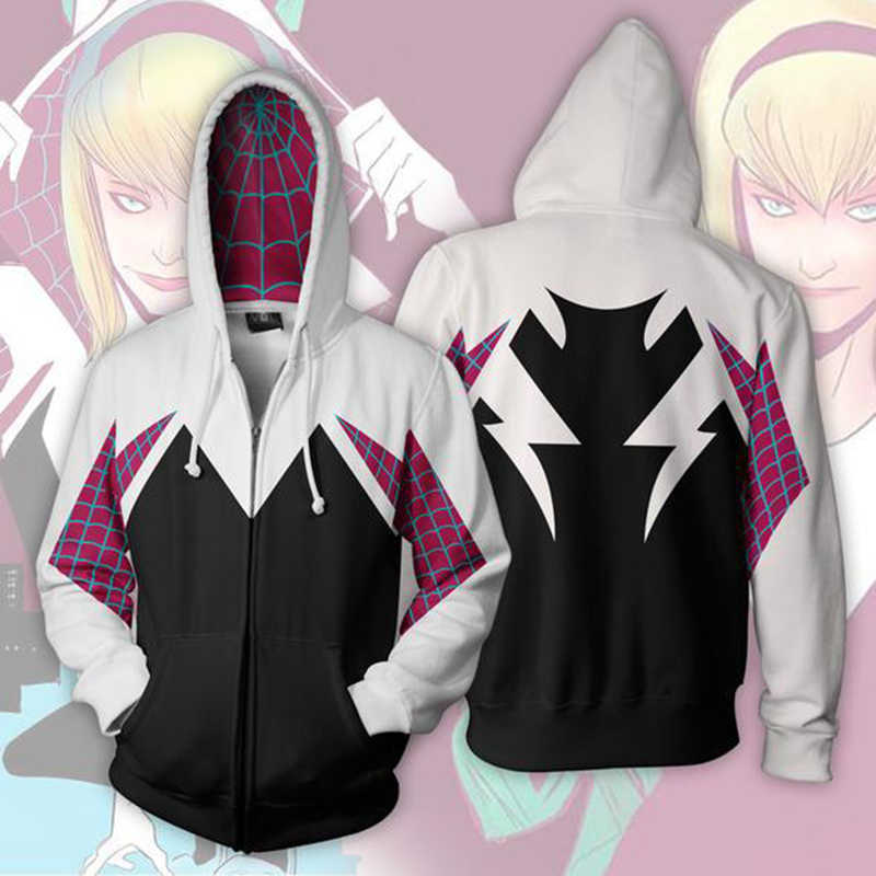 3D Gedruckt Spider Gwen Stacy Spinne Pullover Unisex Streetwear männer Casual Reißverschluss Sweatshirt Mit Kapuze Halloween Kostüm Mantel