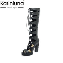KARINLUNA New Fashion Square High Heels Feste Hohl Plateauschuhe Frau Casual Sommer Stiefel Schwarz Big Size 33-43(China)