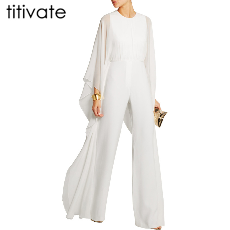 TITIVATE Ruffle White Casual Rompers Fashion Big Women Full Sleeve Maxi Overalls Wide Leg Jumpsuit S-2XL Plus Size Long Pants