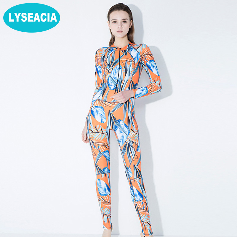 LYSEACIA Printed Wetsuit Women Zipper Swimwear Long Rash Guards Women's Swimming Suit One Piece Swimsuit Surfing Diving Suits high quality zipper long sleeve women swimsuit round collar sexy one pieces swimwear girl wetsuit diving swimming suit