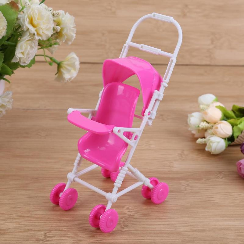 Baby Stroller Carriage Trolley Nursery Furniture Toy Plastic Doll Accessories for Barbie Doll Kids Girl Play House Role Play Toy цена