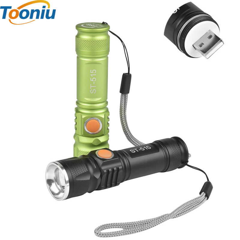 USB Inside Battery Cree XML-T6 Powerful 2200LM Led Flashlight Portable Light Rechargeable Tactical LED Torches Zoom Flashlight