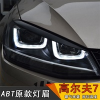 Tcart 1Set Auto LED Headlight Black Eyebrow Eyelids ABS Trim Emblem Car Accessories For Volkswagen VW MK7 GOLF 7 Car Accessories