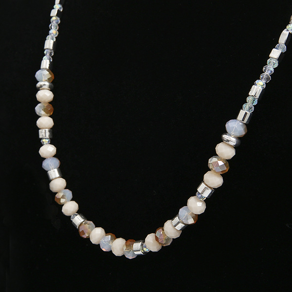 DIY Glass Pearl Alloy Mixed Bead Necklace Trend Simple, Short-style Glass Pearl Necklace Jewelry Woman Sweater Chain Purely Hand