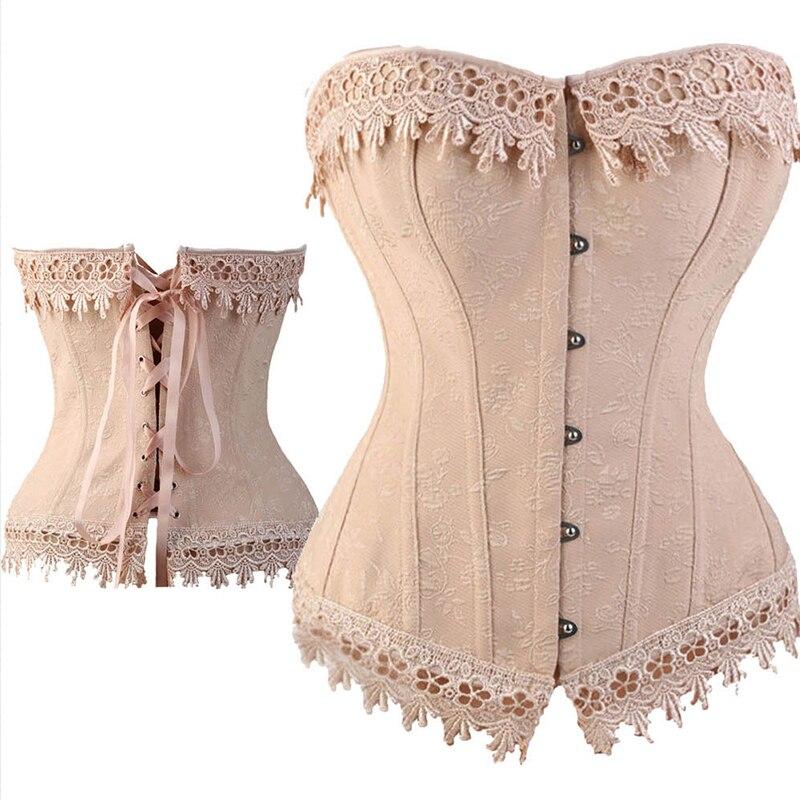 6b2279cff Sexy Lace Up Boned Burlesque Corset Tops cream Lace Trim Corset Busiter  Basque Lingerie Underwear Plus Size S-6XL