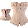 Sexy Lace Up Boned Burlesque Corset Tops cream Lace Trim Corset Busiter Basque Lingerie Underwear Plus Size S-6XL
