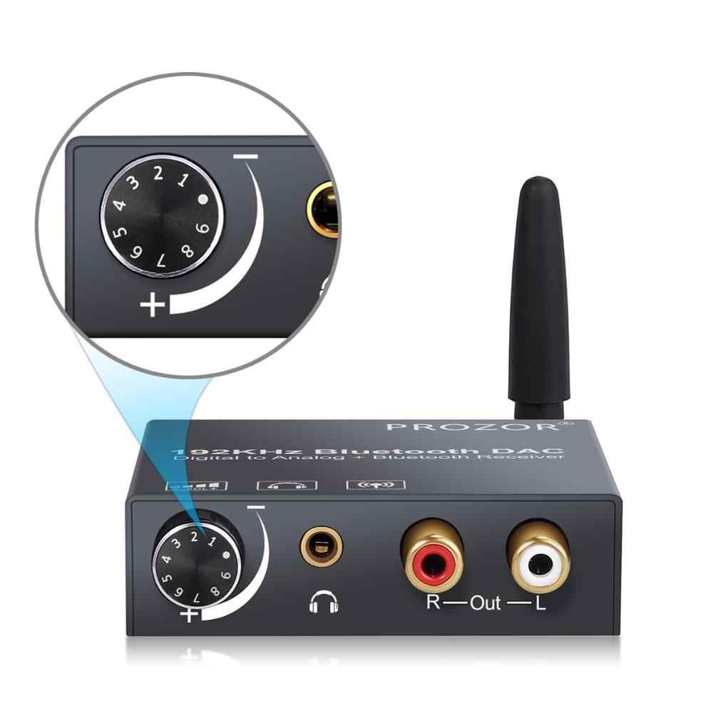 Konwerter 192kHz DAC z odbiornik Bluetooth regulacja głośności cyfrowy optyczny koncentryczny Toslink na analogowy konwerter Audio Adapter