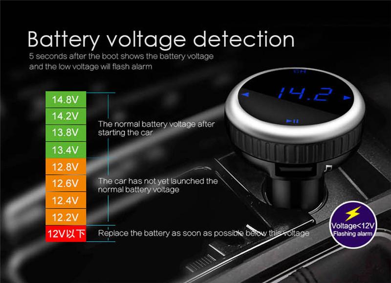 Samochodowy Odtwarzacz MP3 Audio Bluetooth Nadajnik FM Z Pilotem Zestaw Samochodowy Zestaw Głośnomówiący FM Modulator bezprzewodowy Ekran LCD w/TF gniazdo 5