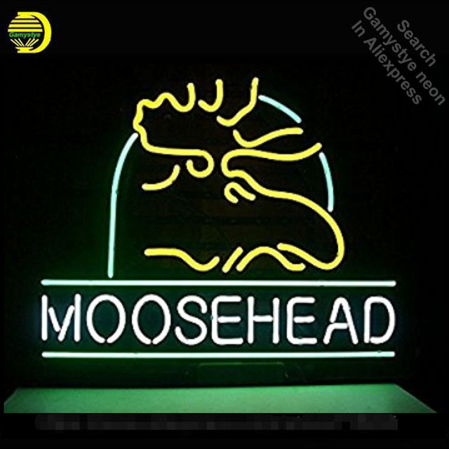 Moosehead Neon Sign neon bulbs Sign neon lights for Beer Bar Room Wall Glass Tube Handcraft Iconic Sign store Display signboard