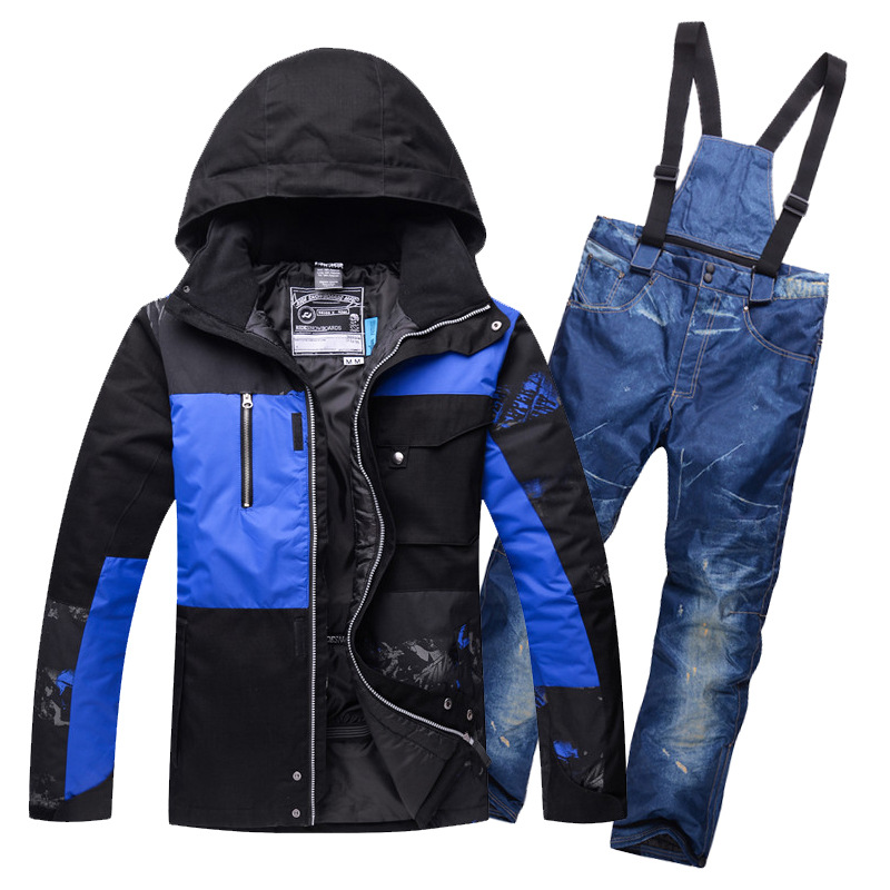 a9a28698bcbf Mens snow suit Thermal Padded Cotton Ski Jackets and Bib Trousers ...