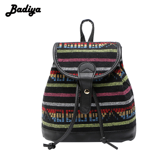 High Quality Ethnic Striped Women Backpacks PU Leather Vintage Ladies Female Backpack Hasp Design Canvas Women Bags