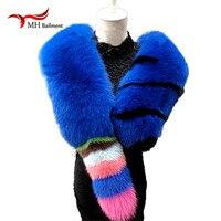 Брендовые Модные женские длинный шарф натуральный Лисий мех шарф из натуральной кожи роскошные мягкие голубой песец волосы scaves платки/ кра