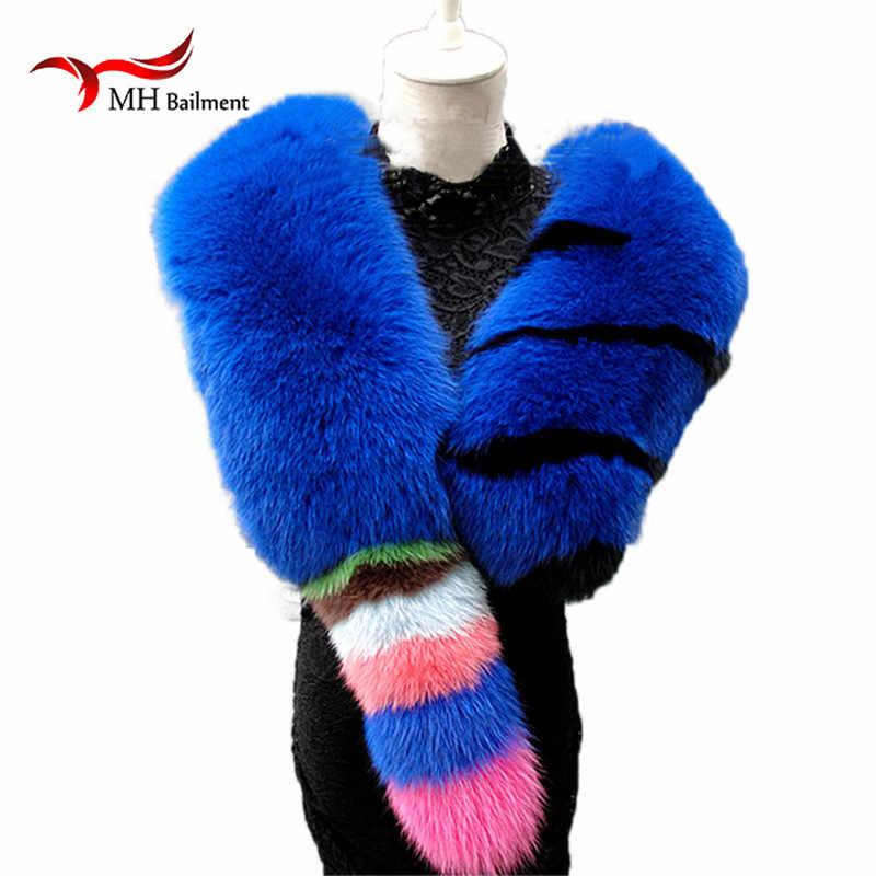 Merek Fashion Wanita Wanita Panjang Syal Alam Nyata Fox Bulu Syal Asli Mewah Lembut Blue Fox Rambut Scaves Selendang/ merah/Biru/Putih