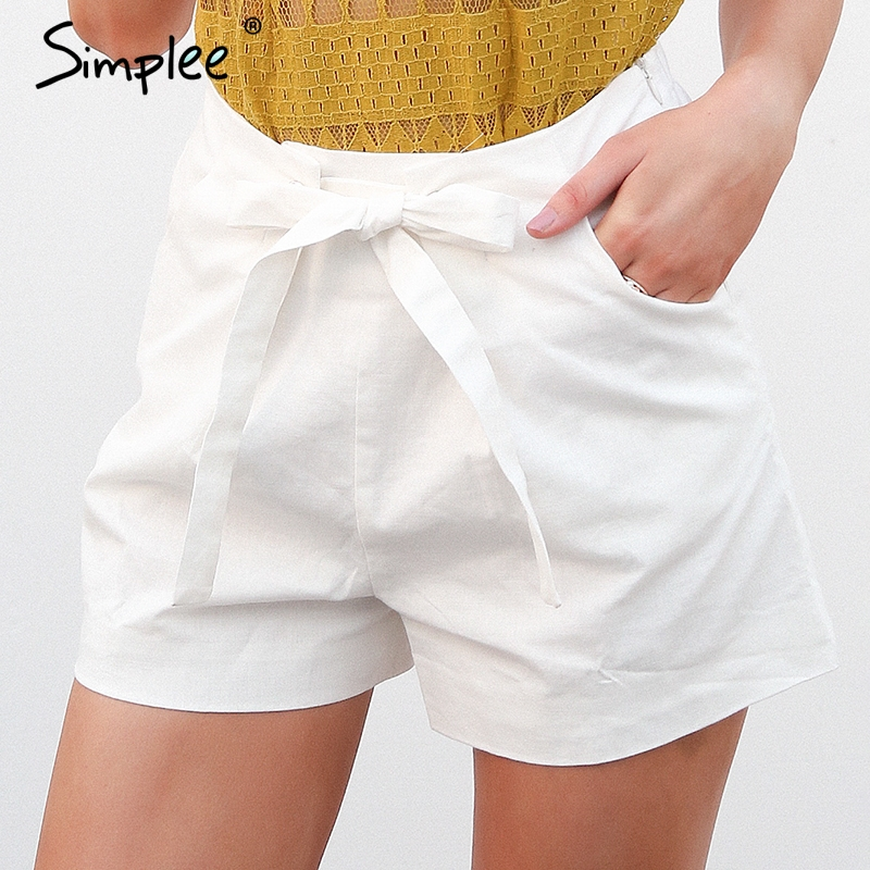 Simplee Tie Up Zipper Plaid Shorts Women Bottom Ring Streetwear Summer Shorts 2018 Casual White Zipper High Waist Shorts Femme