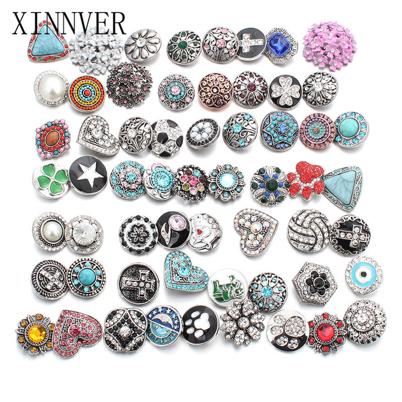 20pcs/lot 18mm Snap Jewelry Mix Many Styles 18mm Metal Snap buttons Silver buttons Rhinestone Watches Snaps Jewelry image