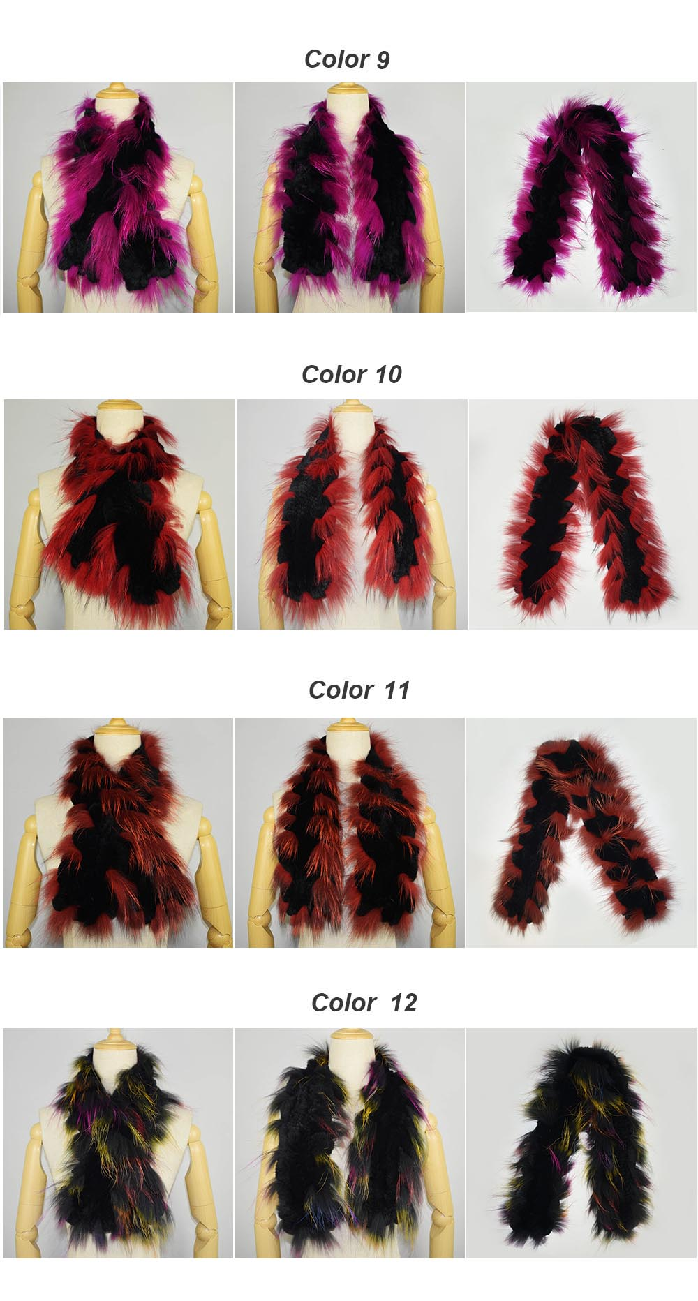 fox fur trimmed scarf colors 3