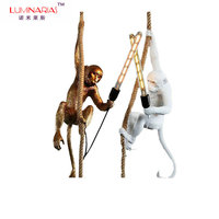 Modern Creative Art Monkey Pendant Lamps Loft Style Handmade Resin Monkey Pendant Lighting Table Floor Wall