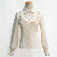 5 colores forro polar de invierno de manga farol Color sólido acordeón Lolita camisa Bowtie encaje agárico hem mujeres Vintage blusas reales